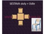 set K čtverec 60x60 + 4 židle