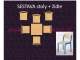 set K čtverec 60x60 + 6 židlí