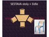 set K lichoběžník 120x60 + 4 židle