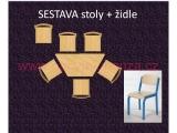 set K lichoběžník 120x60 + 6 židlí