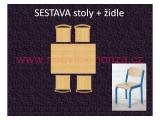set K obdélník 80x60 + 4 židle