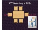 set K obdélník 120x80 + 6 židlí