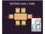 set K obdélník 150x60 + 6 židlí vel.4