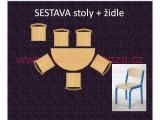 set K půlkruh 120x60 + 6 židlí