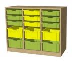 A525 skříňka s plastovými boxy
