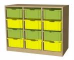 A595 skříňka s plastovými boxy