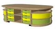 A6-3 sestava-hrací pulty s plastovými boxy