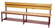 Šatní lavice s opěrkou - dřevo