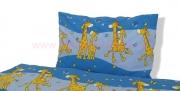 povlečení žirafa modrá krep