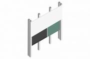 sestava LCD 75'' + doplňková tabule + přední tabule 400cm + PYLON AL