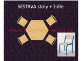 set K šestiúhelník pr.120 + 4 židle