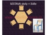 set K šestiúhelník pr.120 + 6 židlí