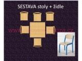 set K čtverec 80x80 + 6 židlí