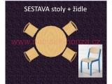 set K kruh pr.120 + 4 židle