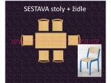 set K obdélník 80x60 + 6 židlí