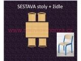 set K obdélník 120x80 + 4 židle