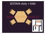 set L šestiúhelník pr.120 + 4 židle