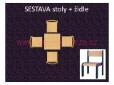 set L čtverec 60x60 + 4 židle