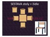 set L čtverec 60x60 + 6 židlí