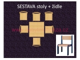 set L čtverec 80x80 + 6 židlí