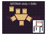 set L lichoběžník 120x60 + 6 židlí