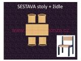set L obdélník 60x120 + 4 židle