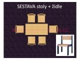 set L obdélník 60x120 + 6 židlí