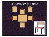 set L obdélník 60x80 + 6 židlí