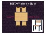 set L obdélník 80x120 + 4 židle