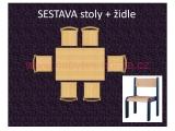 set L obdélník 80x120 + 6 židlí